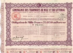 Obligation Ancienne - Compagnie Des Tramways De Nice Et Du Littoral - Titre De 1930 - N° 03464 - - Chemin De Fer & Tramway