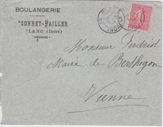 LETTRE + ENVELOPPE  BOULANGERIE BRISSONNET PAILLER A LE BLANC ( 36) INDRE 1907 - Food