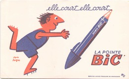 France Buvard La Pointe Bic ( Pliure, Tache ) 21 Cm X 13,5 Cm - Stationeries (flat Articles)