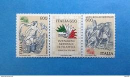 1985 ITALIA FRANCOBOLLI NUOVI IN TRITTICO STAMPS NEW MNH** - ARTE RINASCIMENTALE ESPOSIZIONE MONDIALE DI FILATELIA - - 1946-.. Republiek