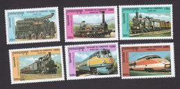 Cambodia, Scott #1969-1974, Mint Hinged, Locomotives, Issued 2000 - Cambodia