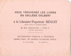 France Buvard Librairie-Papeterie Benoit à Paris ( Pliure, Déchirure ) 21 Cm X 16 Cm - Papeterie