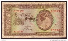 LUXEMBOURG - 20 Francs De 1943 - Pick 42 - Luxembourg