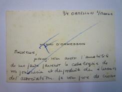 CARTE De VISITE  De  Henri  D'ORMESSON  (Ormesson-sur-Marne)    - Cartes De Visite