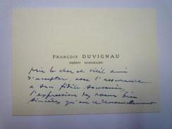 CARTE De VISITE  De  François  DUVIGNAU  Préfet Honoraire    - Cartes De Visite
