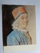 JEAN ETIENNE LIOTARD. AUTOPORTRAIT AU BONNET ROUGE. PIERRE NOIRE CRAYONS DE COULEURS SUR VELIN. 1450a - Paintings