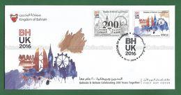 2016 BAHRAIN & Britain Celebrating 200 Years Together 2v MNH ** FDC + Brochure - BH UK Relationship - As Scan - Bahreïn (1965-...)