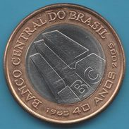 BRASIL 1 REAL 2005 40th Anniv. Of Central Bank  KM# 668   BIMETAL - Brazil