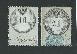 2 Austria Revenue Anfangs 1864 - 1+ 2fl. - Blaues Dickes Papier, Gez. 12 Und 12 1/2 - WZ Siehe Beschreibung - Steuermarken