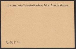 """Ganzsache, Zudruck """"Beck`sche Verlagsbuchhandlung, München"""", * - Bayern"""