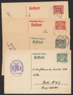 Ganzsache, 4 Verschiedene Dienstpostkarten, Alle Bedarf, O - Bayern