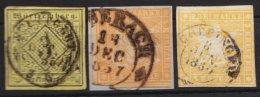 3 Verschiedene Geschnittene Werte Zu 3 Kreuzer, Briefstück, O - Wuerttemberg