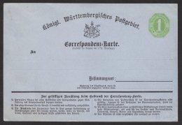 """Ganzsache, """" Correspondenz- Karte, Rückseitig Klebestelle, * - Wuerttemberg"""