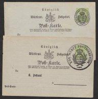 """2 Karten Mit Überdruck Als """"Post- Sache"""", Bzw. """"Post-Dienst-Sache, * - Wuerttemberg"""