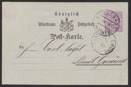 """Ganzsache, Bedarf """"Stuttgart"""", 09.04.1875, O - Wuerttemberg"""