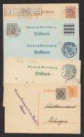 Ganzsache, 5 Verschiedene Dienstpostkarten, Bedarf, O - Wuerttemberg