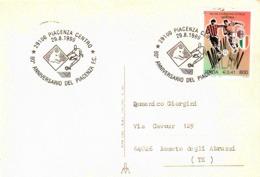 CARTOLINA D´EPOCA (1926) VIAGGIATA HUMOR SPORT CON ANNULLO SPECIALE 80° ANNIVERSARIO PIACENZA CALCIO - Calcio