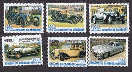 Cambodia, Scott #2010-2015, Mint Hinged, Antique Cars, Issued 2000 - Cambodge