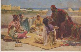 """JUDAICA . TUNISIE . Famille Juive En Costume Traditionnel . Tableau """" Sur La Terrasse """" Par R. LEINIPEBER - Judaisme"""