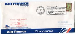 ENVELOPPE CONCORDE 7 VOL AF 7602 MANILLE/COLOMBO/BAHRAIN/PARIS CH. DE GAULLE 4 OCTOBRE 1976 - Concorde