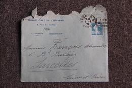Enveloppe Timbrée Publicitaire Avec Lettre, LYON, Le Grand Café De L'Univers - Lettres & Documents