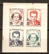 Monaco 1951 Yvertn° 379B-382B ND (*) MLH Cote 46 Euro Croix-Rouge Rode Kruis Surchargé - Neufs