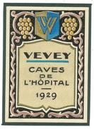 Rare // Vevey Cave De L'hôpital 1929, Vaud // Suisse - Etiquettes