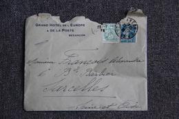 Enveloppe Timbrée Publicitaire Avec Lettre, BESANCON, Grand Hôtel De La Poste Et De L'Europe - Lettres & Documents
