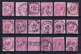 België Nr 46 Varia Nuance En Stempels,zeer Mooi Lot Krt 3481, KOOPJE ,   Zie Ook Andere Mooie Loten - 1884-1891 Léopold II