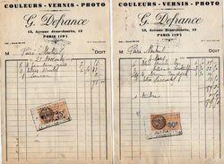 VP10.740 - 2 Factures - Couleurs - Vernis - Photo  G. DEFRANCE à PARIS Avenue Jean - Jaurès - France