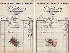 VP10.741 - 2 Factures - Couleurs - Vernis - Photo  G. DEFRANCE à PARIS Avenue Jean - Jaurès - 1900 – 1949