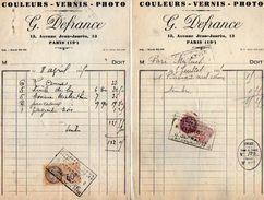 VP10.742 - 2 Factures - Couleurs - Vernis - Photo  G. DEFRANCE à PARIS Avenue Jean - Jaurès - 1900 – 1949
