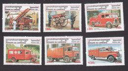 Cambodia, Scott #2059-2064, Mint Hinged, Fire Trucks, Issued 2001 - Cambodge