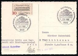 A6565 - Alte Postkarte - Sonderstempel Ersttagsstempel Bayreuth 1968 TOP - Marcofilie - EMA (Printmachine)