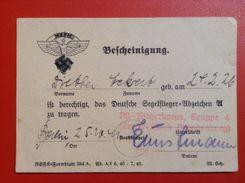 NSFK Fliegerkorps WW2 Gruppe 4 Bescheinigung Deutsche Segelflieger Abzeichen 1941 Berlin Brandenburg - Documenti