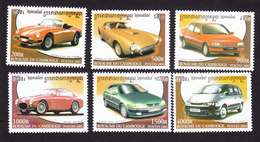 Cambodia, Scott #2097-2102, Mint Hinged, Cars, Issued 2001 - Cambodge