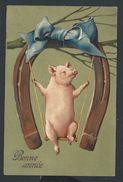 +++ CPA - Carte Fantaisie - COCHON - Pig - Fer - Balançoire - Chance - Voeux - Embossed - Relief Gaufrée   // - Varkens