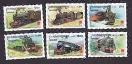 Cambodia, Scott #2107-2112, Mint Hinged, Trains, Issued 2001 - Cambodge