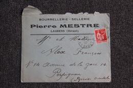 Enveloppe Timbrée Publicitaire Avec Lettre - LAURENS ( Hérault) - Pierre MESTRE, Bourellerie, Sellerie. - Lettres & Documents