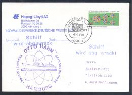 Germany Deutschland 1981 Cover: Alfred Nobel Prize - Chemistry 1944: Otto Hahn; Kern Energie Schungsschiff - Nobel Prize Laureates