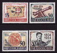 Yugoslavia, 1954, 150 Years Of The Uprising, 4 Stamps  MNH ** Lux - 1945-1992 República Federal Socialista De Yugoslavia
