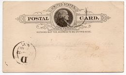 USA--1892--Entier Postal--Postal Card One Cent --cachet Moyen - ...-1900
