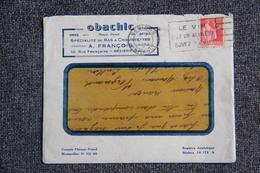 Enveloppe Timbrée Publicitaire Avec Lettre  - BEZIERS, OBACHIC, A.FRANCOIS.10 Rue FRANCAISE. - Lettres & Documents