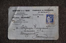 Enveloppe Timbrée Publicitaire Avec Lettre  - ALZONNE (AUDE), Café Restaurant Maurice JOURNES. - Lettres & Documents