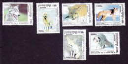 Cambodia, Scott #2143-2148, Mint Hinged, Wolves And Foxes, Issued 2001 - Cambodia