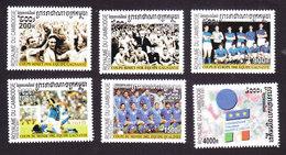 Cambodia, Scott #2166-2171, Mint Hinged, Italian Soccer, Issued 2001 - Cambodge