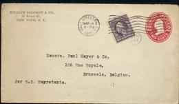 1911  Entier Postal Avec Tp Complémentaire, Destination De Bruxelles Belgique - Vereinigte Staaten