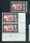 St Helena 1967 Settlers Fire Of London 2d Carmine & Black Shade Imprint Pair MNH - Saint Helena Island