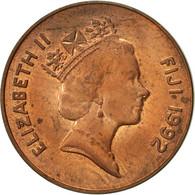 Fiji, Elizabeth II, 2 Cents, 1992, TTB, Copper Plated Zinc, KM:50a - Fidji