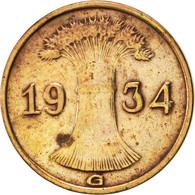 Allemagne, République De Weimar, Reichspfennig, 1934, Karlsruhe, TTB, Bronze - [ 3] 1918-1933 : Weimar Republic